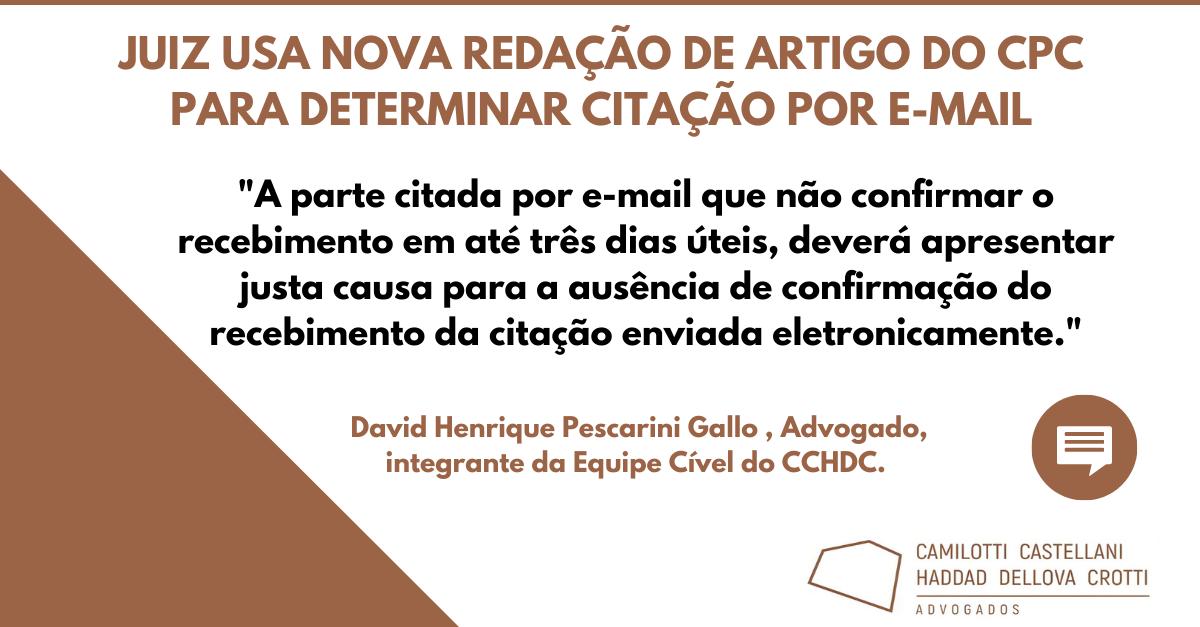 Juiz usa nova redação de artigo do CPC para determinar citação por e-mail